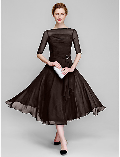 A-Line Bateau Neck Tea Length Chiffon Mother of the Bride Dress with Ruched by LAN TING BRIDE® / Illusion Sleeve