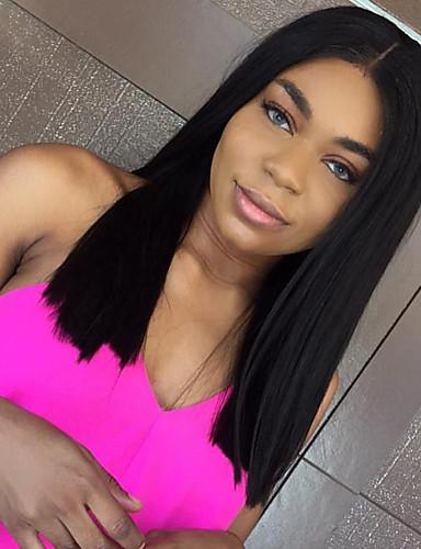 billige Blondeparykker med menneskehår-Ekte hår Blonde Forside Parykk Med babyhår Kardashian stil Rett Parykk 130% Hair Tetthet Afroamerikansk parykk 100 % håndknyttet Dame / Brasiliansk