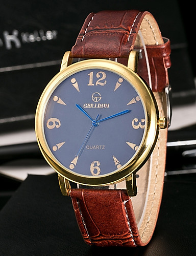 Men's Sport Watch Chinese Water Resistant / Water Proof / Creative Leather Band Casual / Fashion / Elegant Black / Brown / Stainless Steel