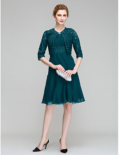 cheap Mother of the Bride Dresses-A-Line Scoop Neck Knee Length Chiffon / Beaded Lace Mother of the Bride Dress with Beading / Draping / Lace by LAN TING BRIDE®