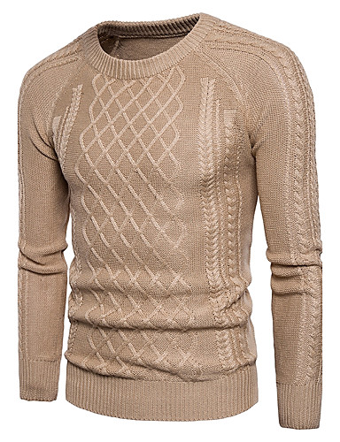Men's Cute Street chic Long Sleeves Pullover - Solid Colored Round Neck