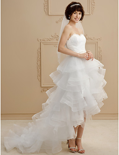 Ball Gown Sweetheart Asymmetrical Lace Tulle Wedding Dress with Lace Ruffle by LAN TING BRIDE®