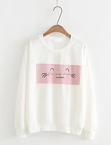 Damen Pullover Ausgehen Lässig/Alltäglich Niedlich Aktiv Druck Einfarbig Mikro-elastisch Baumwolle Andere
