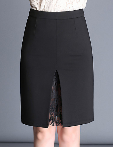 Women's Plus Size Pencil Skirts - Solid Colored Lace