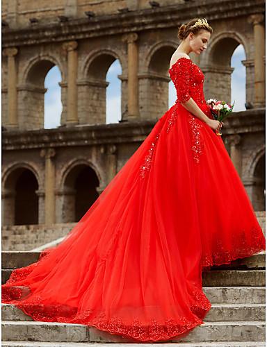 De Baile Ombro a Ombro Cauda Catedral Renda / Cetim / Tule Vestidos de casamento feitos à medida com Miçangas / Renda de LAN TING BRIDE®