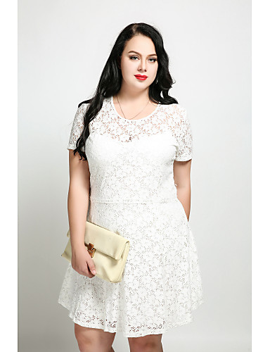 Cute Ann Women's Plus Size Vintage Cute A Line Dress - Solid Colored, Lace