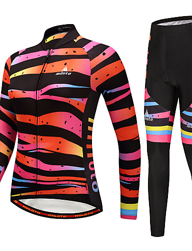 cheap Cycling Clothing-Miloto Women's Long Sleeve Cycling Jersey with Tights - Black / Orange Bike Clothing Suit Winter Sports Horizontal Stripes Mountain Bike MTB Road Bike Cycling Clothing Apparel / Stretchy
