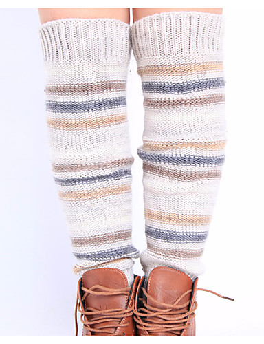 Women's Medium Socks, Wool Acrylic Striped 1set Black Beige Navy Blue Gray Light Brown