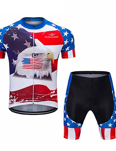 cheap Cycling Clothing-FUALRNY® Men's Short Sleeve Cycling Jersey with Shorts - Blue / White Bike Clothing Suit Sports Coolmax® Lycra USA Mountain Bike MTB Road Bike Cycling Clothing Apparel / High Elasticity
