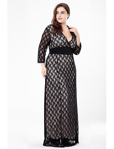 Women's Plus Size Party Sophisticated A Line / Lace / Swing Dress - Solid Colored / Jacquard Black, Lace / Cut Out Maxi V Neck