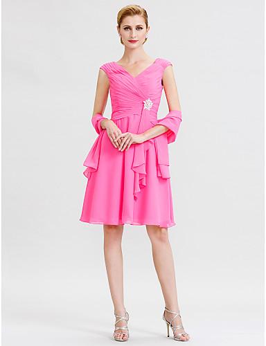 voordelige Wrap Dresses-A-lijn V-hals Tot de knie Chiffon Bruidsmoederjurken met Kruiselings / Kristallen broche door LAN TING BRIDE® / Wrap inbegrepen