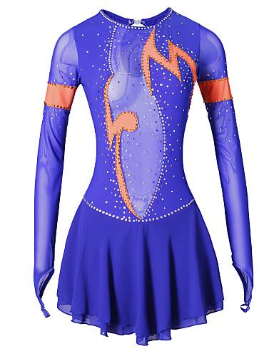 Eiskunstlaufkleid Damen Mädchen Eislaufen Kleider Blau Strass Hochelastisch Leistung Eiskunstlaufkleidung Handgemacht Klassisch Langarm