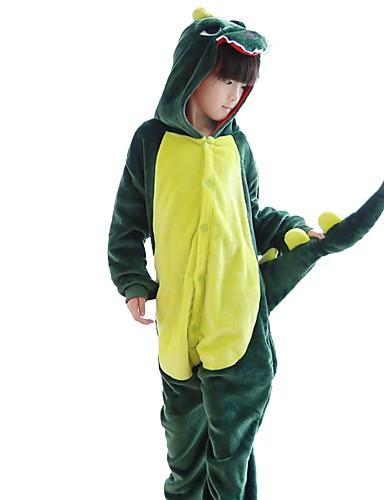 billige Kigurumi-Barne Kigurumi-pysjamas Dinosaur Onesie-pysjamas Flannelstoff Grønn / Rosa Cosplay Til Gutter og jenter Pysjamas med dyremotiv Tegnefilm Festival / høytid kostymer