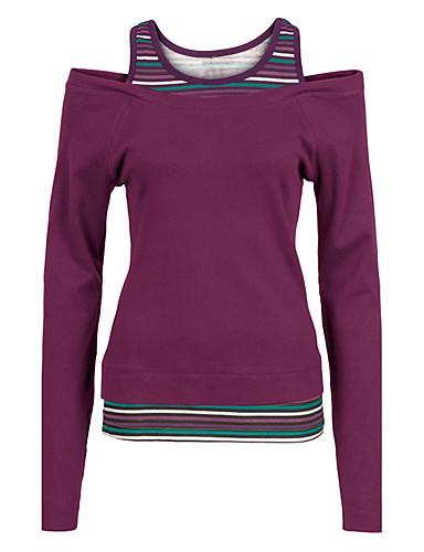 billige Topper til damer-Bomull Løstsittende T-skjorte Dame - Ensfarget, Utskjæring Grunnleggende Ut på byen Grønn / fin Stripe
