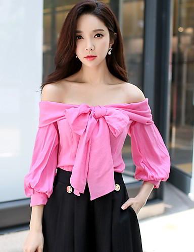 billige Dametopper-Løse skuldre T-skjorte Dame - Ensfarget, Sløyfe Vintage Ut på byen