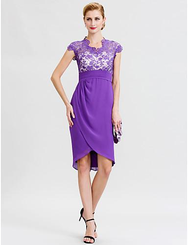 Sheath / Column V Neck Asymmetrical Chiffon Lace Mother of the Bride Dress with Sash / Ribbon Pleats by LAN TING BRIDE®