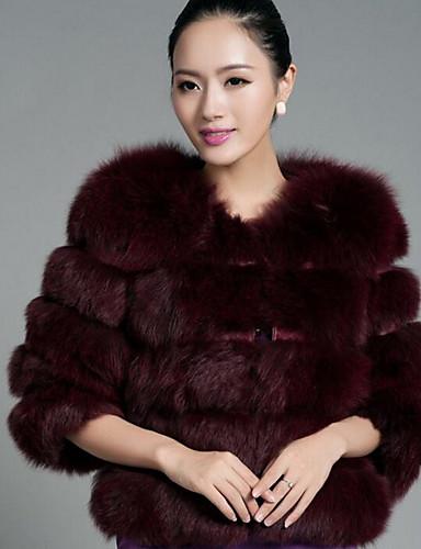 f85d3de9f Women's Daily Fall / Winter Short Fur Coat, Solid Colored Round Neck Faux  Fur Light Blue / Light gray / Royal Blue XL / XXL / XXXL
