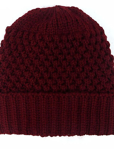 Womens Hat Pattern Stripes Sweater Ski Hat Solid Colored Knitting