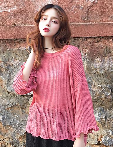 Damen Standard Pullover-Lässig/Alltäglich Einfach Solide Rundhalsausschnitt Langarm Baumwolle Mittel Mikro-elastisch