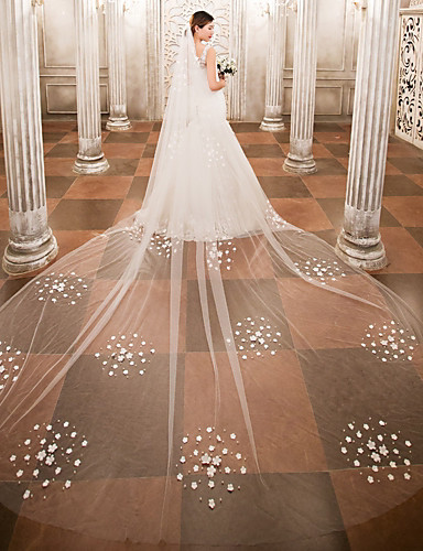 One-tier Wedding Veil Cathedral Veils 53 Beading Appliques Lace Tulle