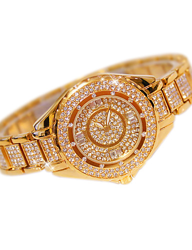 Damen Pavé-Uhr Modeuhr Quartz Edelstahl Band Freizeit Silber Gold Rotgold