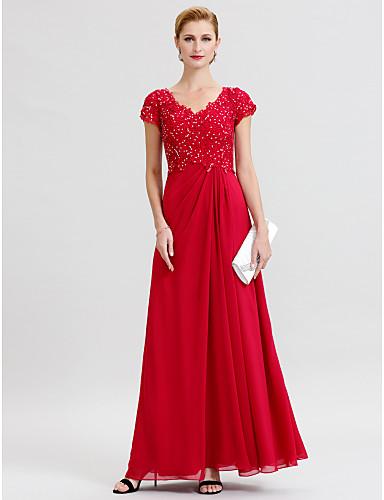 저렴한 재고정리-시스 / 칼럼 V 넥 바닥 길이 쉬폰 비즈 레이스 신부 어머니 드레스 와 비즈 주름 으로 LAN TING BRIDE®
