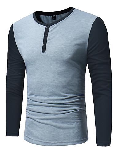 billige Herreskjorter-Herre - Farveblok Bomuld Aktiv Skjorte Sort L / Langærmet