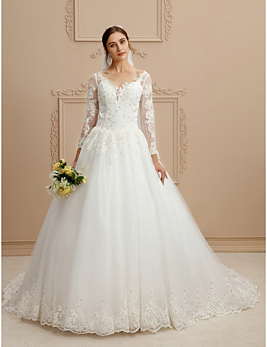 Ball Gown V Neck Chapel Train Tulle / Beaded Lace Made-To-Measure Wedding Dresses with Beading / Appliques by LAN TING BRIDE®