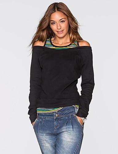 abordables Camisas y Camisetas para Mujer-Mujer Básico Noche Cortado - Algodón Camiseta Corte Ancho Un Color Verde Trébol L / raya fina