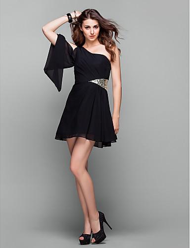 A-Linie Ein-Schulter Kurz / Mini Chiffon Kleines Schwarzes Kleid Cocktailparty / Abiball Kleid mit Paillette / Seitlich drapiert durch TS Couture®