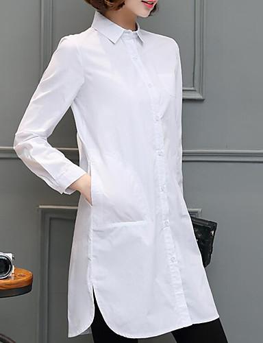 povoljno Majica-Veći konfekcijski brojevi Majica Žene - Ulični šik Dnevno / Izlasci Jednobojni Kragna košulje Obala
