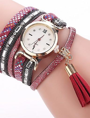 Women's Bracelet Watch Simulated Diamond Watch Quartz Imitation Diamond PU Band Analog Charm Casual Fashion Black / White / Blue - Coffee Red Blue