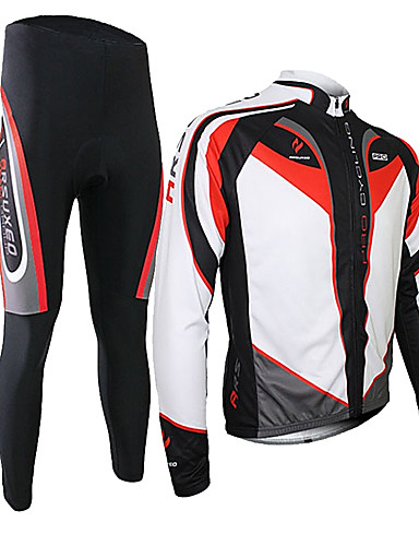 cheap Cycling Clothing-Arsuxeo Men's Long Sleeve Cycling Jersey with Tights - Black / Red Bike Clothing Suit Thermal / Warm Breathable 3D Pad Quick Dry Sports Polyester Spandex Silicon Patchwork Mountain Bike MTB Road Bike