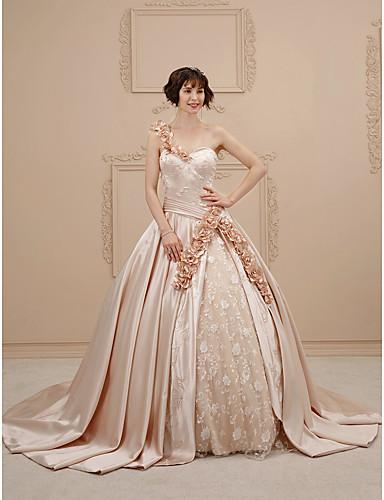 salón un hombro corte encaje / satén vestidos de novia hechos a