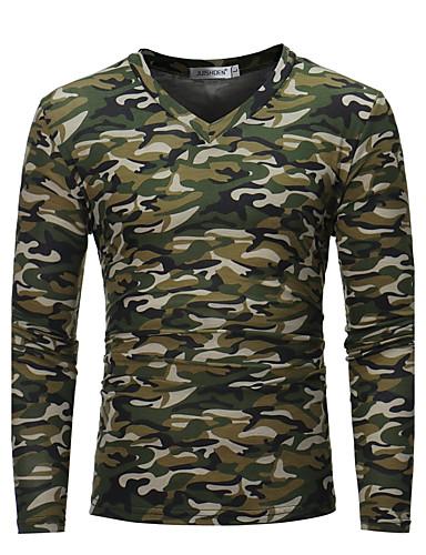 6d09d171775c Ανδρικά Μεγάλα Μεγέθη T-shirt Στρατιωτικό - Βαμβάκι καμουφλάζ Λαιμόκοψη V  Λεπτό Καφέ XL   Μακρυμάνικο   Φθινόπωρο