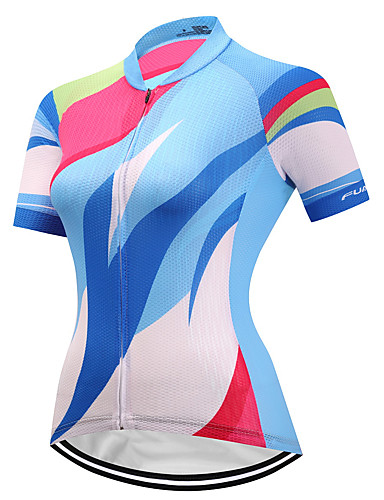 cheap Cycling Clothing-FUALRNY® Women's Short Sleeve Cycling Jersey - Blue / White Bike Jersey Quick Dry Reflective Strips Sports Coolmax® Lycra Mountain Bike MTB Road Bike Cycling Clothing Apparel / High Elasticity