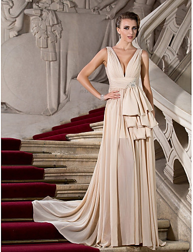 A-Line Plunging Neck Sweep / Brush Train Chiffon Open Back Formal Evening Dress with Draping / Split Front by TS Couture®