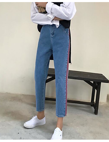 Damen Freizeit Mikro-elastisch Jeans Hose Gestreift