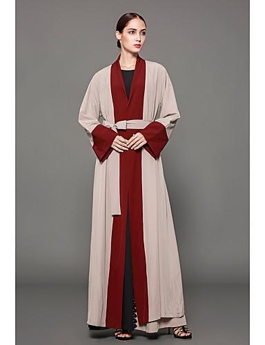 Damen Kaftan Kleid Einfarbig Maxi V-Ausschnitt