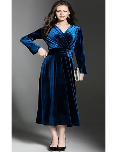 Damen Hülle Kleid-Ausgehen Lässig/Alltäglich Solide V-Ausschnitt Knielang Langarm Kunstseide Hohe Taillenlinie Mikro-elastisch Mittel