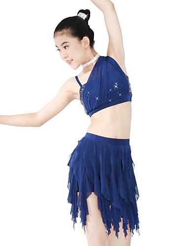 preiswerte Ballettbekleidung-Ballett Austattungen Damen Leistung Elasthan / Netz / Pailletten Wellenmuster / Pailetten Ärmellos Normal Röcke / Top / Kopfbedeckung