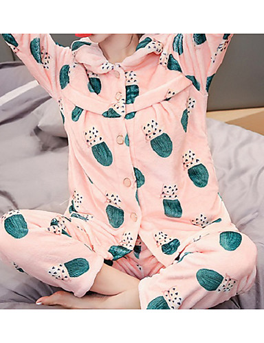 Damen Baumwolle Anzüge Pyjamas Pflanzen