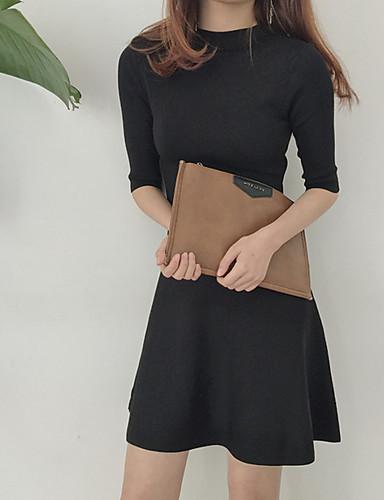 Damen Hülle Kleid-Party Lässig/Alltäglich Solide Rollkragen Knielang Halbe Ärmel Polyester Frühling Hohe Taillenlinie Unelastisch Mittel