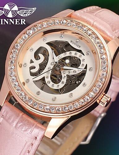 WINNER Damskie Zegarek na nadgarstek / zegarek mechaniczny Hollow Grawerowanie Skóra Pasmo Błyszczące / Elegancja Czarny / Biały / Różowy / Stal nierdzewna / Mechaniczny, nakręcanie ręczne