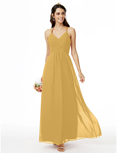 cheap Bridesmaid Dresses-Sheath / Column Spaghetti Strap Ankle Length Chiffon Bridesmaid Dress with Criss Cross / Pleats by LAN TING BRIDE®