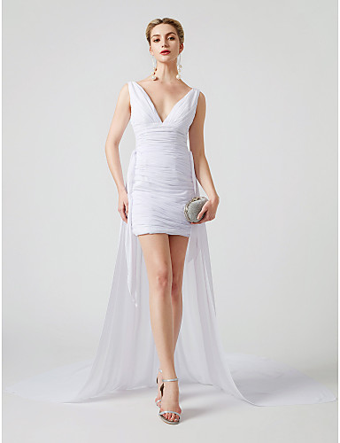 Sheath / Column Plunging Neck Short / Mini Chiffon / Tulle Convertible Dress / Open Back / Celebrity Style Cocktail Party Dress with Criss Cross / Ruched by TS Couture®