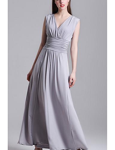 Damen Chiffon Kleid-Lässig/Alltäglich Ausgehen Solide V-Ausschnitt Maxi Langarm Polyester Alle Saisons Mittlere Hüfthöhe Mikro-elastisch