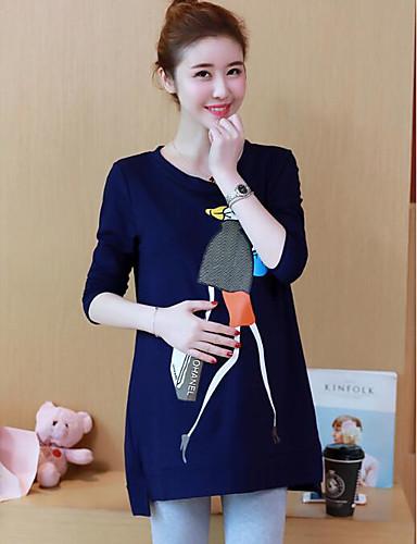 Damen Kapuzenshirt Lässig/Alltäglich Solide Druck Baumwolle