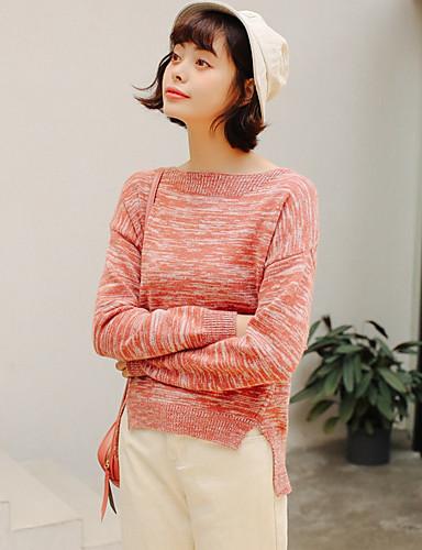 Damen Standard Pullover-Lässig/Alltäglich Solide Druck Rundhalsausschnitt Langarm Acryl Mittel Dehnbar