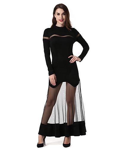 Damen Etuikleid Hülle Kleid-Party Klub Sexy Solide Rundhalsausschnitt Maxi Langärmelige Netz Kunstleder Ganzjährig Mittlere Taillenlinie